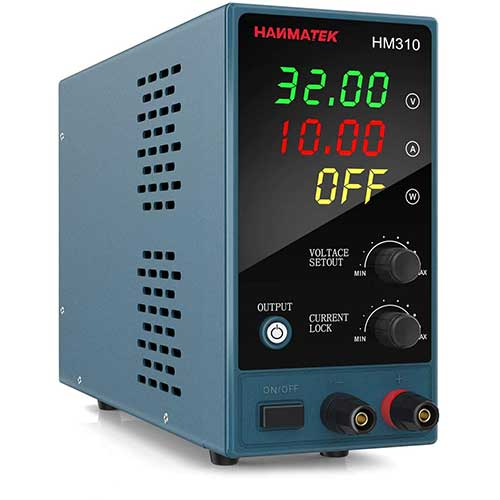 7. Adjustable DC Power Supply (0-30 V 0-10 A) with Output Enable/Disable Button HM310 Mini Variable Switching Digital Bench Power Supply