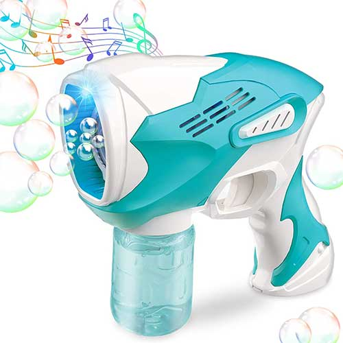6. Bubble Gun for Kids Bubble Gun Blower for Toddlers Automatic Bubble Maker Blower Machine with Lights and Music