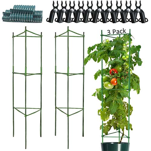 3. Tomato Cages, 3-Pack 47.2 Inch High Tomato Stakes, Steel Metal Pipe Green Cover Plastic Coating with Non-Slip Spurs, Tomato Plant Support Support Fruit Flowers