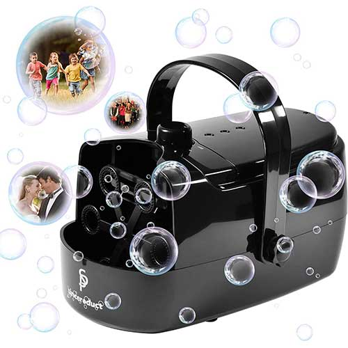 6. Sinceroduct Bubble Machine Automatic Bubble Maker for Kids Portable Bubble Blower Powered by Plug-in or Battery