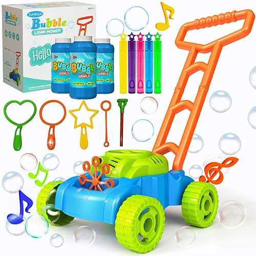 5. JUMELLA Lawn Mower Bubble Machine for Kids - Automatic Bubble Mower with Music, Baby Activity Walker for Outdoor